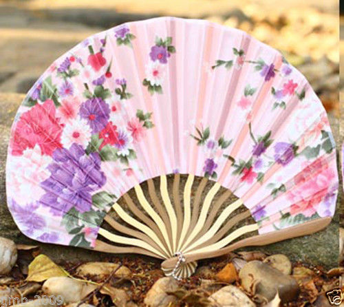 Hand Held Chinese Japanese Pink Penoy Flower Silk Bamboo Folding Wedding Fan(China (Mainland))