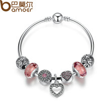 BAMOER Simple Friendship Bracelets Silver Plated Heart Pendant Bracelets with European Beads Girl Bracelet Jewelry PA3805(China (Mainland))