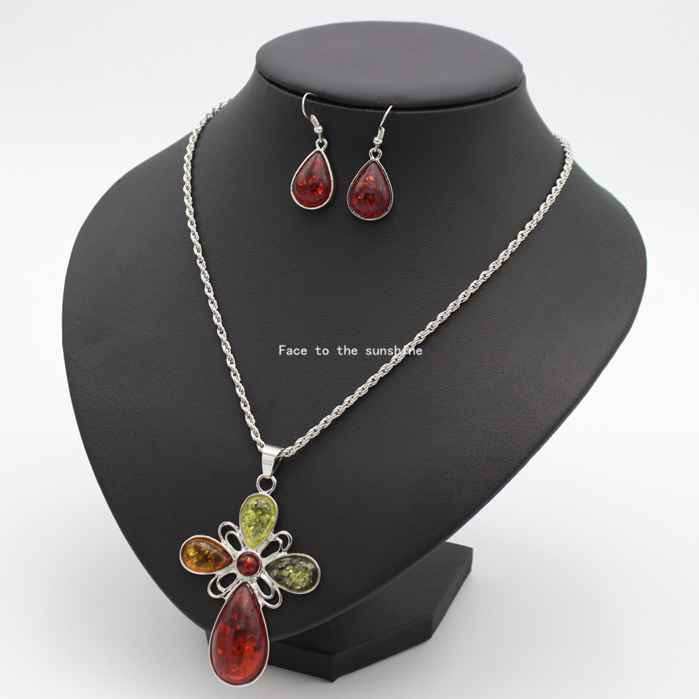 2015 Fashion jewelry Amber Necklace and silver earrings set free shipping