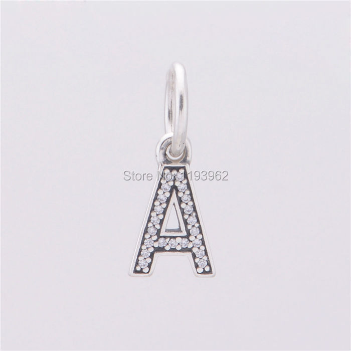 925 Sterling Silver Alphabet A Charm Pendants Fits Pandora Bracelets Pave Clear CZ Letters A Charms Diy Necklace Jewelry Making<br><br>Aliexpress