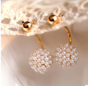 ED401 2015 new fashion After the Korean version of the golden pearl balls hanging earrings Wholesalers(China (Mainland))