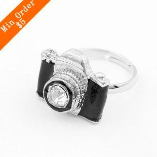 2015 New Fashion Hot-Selling Retro Personality Cute , Fashion Jewelry (Black) Camera Ring 66R148(China (Mainland))