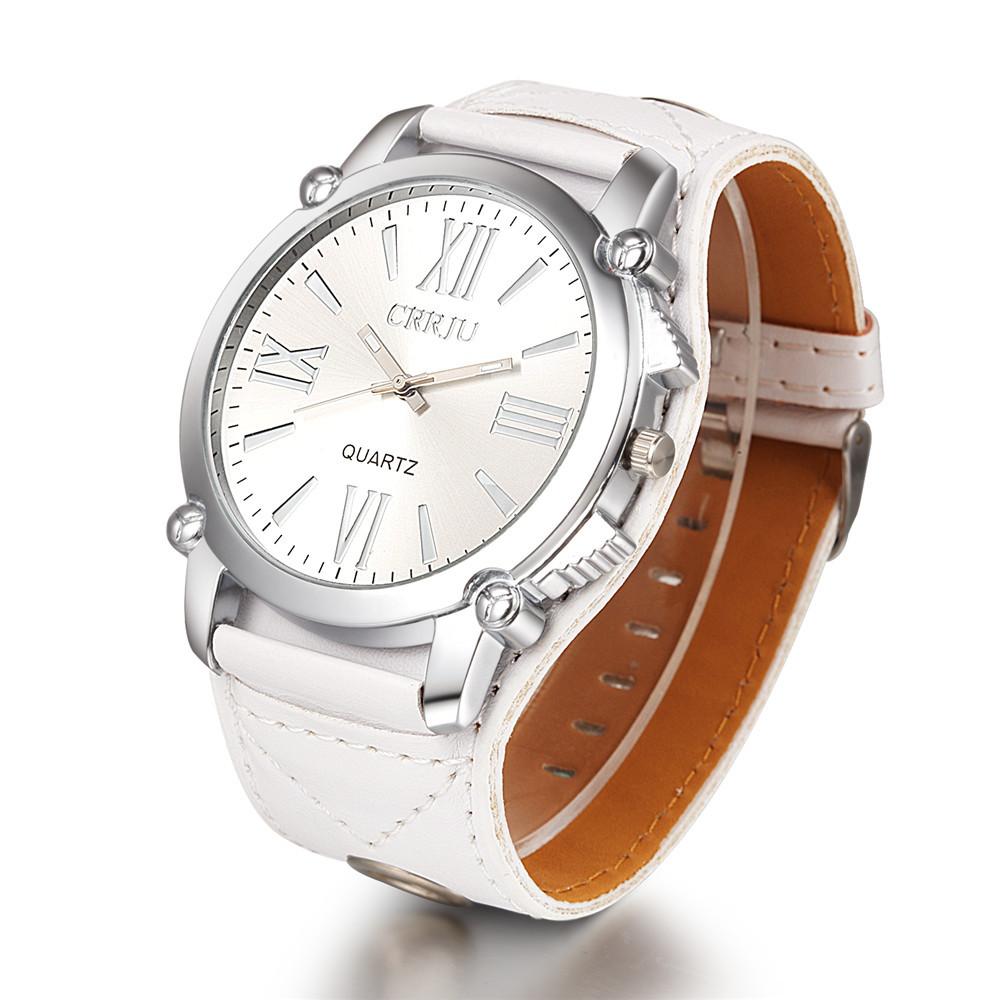 High Quality CRRJU Brand Leather Watch Women Ladies Fashion Dress Quartz Wristwatches Roman Numerals Watches Christmas gift(China (Mainland))