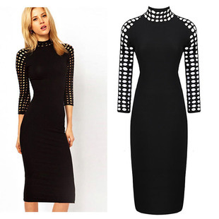 Three-Quarter Hollowed Sleeve High Stand Collar Rip Button-Up Back Office Ladies Sexy Bodycon Dress(China (Mainland))