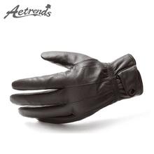 [AETRENDS] Sheepskin Leather Gloves Winter Warm Plus Thick Velvet Full Finger Gloves Z-2949()