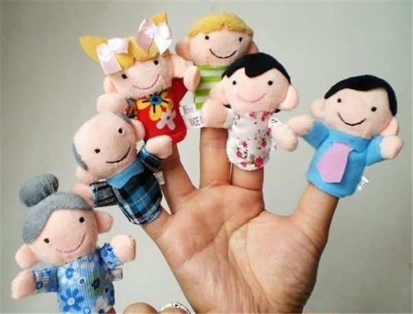 Retail Cartoon Family Portrait Figures Puppet Finger Hand Puppet A Family Six Person  Plush Toys Kid Baby Favor Dolls 1pcs/lot(China (Mainland))