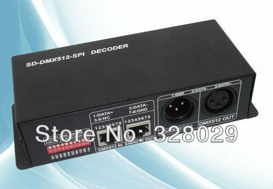 New DMX Decoder RGB Controller DMX SPI Decoder RJ45 Port DC12V DMX 1024 Pixel Point Decoder LN-SDDMXCON-SPI-LV Free Shipping(China (Mainland))