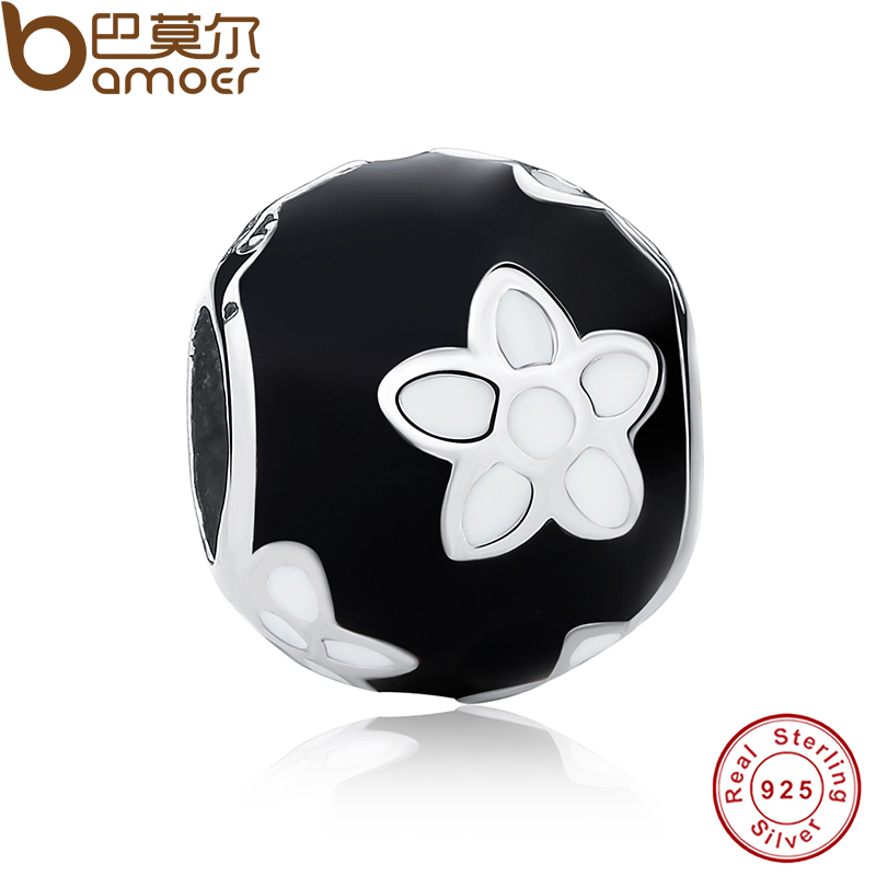 2015 New Sterling Silver 925 Black & White Enamel Mystic Flower Charm Fit Original Bracelet DIY Jewelry PAS092(China (Mainland))