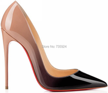2015 marca red high heels bottom charol mujeres bombas de punta estrecha sexy ladies zapatos de tacón de aguja más el tamaño 35-43