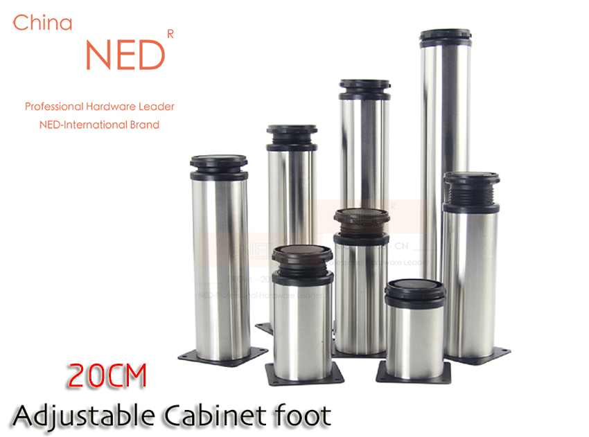 Brand NED 4PCS Furniture Legs 20CM Height Adjustable Stainless Steel Table Cabinet Metal Foot Sofa TV Bed 200MM Feet With Screws(China (Mainland))