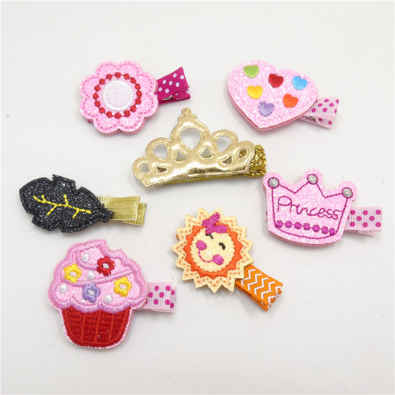 20pcs/lot Smiling Embroidery Sun Hair Clip Pink Glitter Felt Princess Barrette Rainbow Heart Infant Hairpin Ice Cream Hair Pinch(China (Mainland))