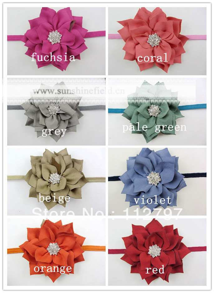 Trial order Winter Fabric Flowers With Starburst Button on Thin Elastic Headbands 30PCS/LOT By Sunshinefield(China (Mainland))