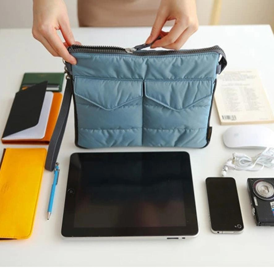 Travel Lightweight Washable Tablet PC Padded Sleeve Storage organizador Bag Handle Organizer Pouch for ipad mini GPS PM3(China (Mainland))