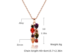Gold Plated Necklaces Pendants With Multicolor Colorful Cubic Zircon Necklace Jewelry For Women Christmas Gift