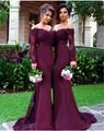 Long Mermaid Bridesmaid Dress 2017 Strapless Long Sleeve Button Floor Length Chiffon 2016 Bridesmaids Dress Wedding