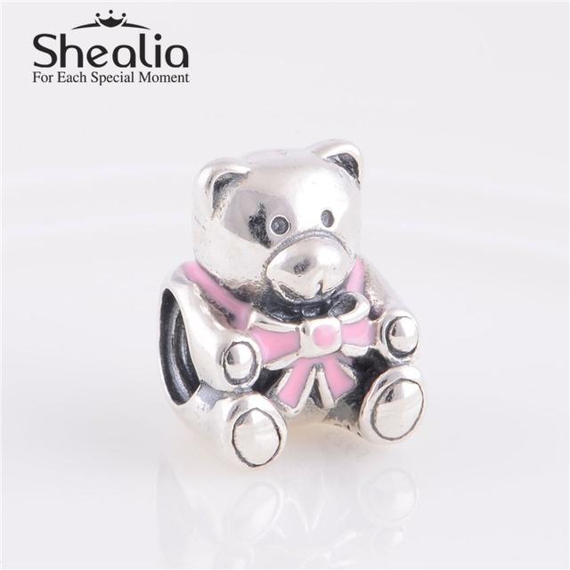 Подлинная стерлингового серебра 925 синий, Розовый мишка эмаль шарм бусины DIY ювелирных изделий подходит пандора стиль браслет