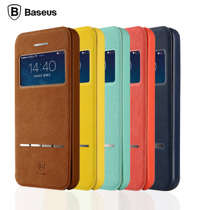 2015 Newest Phone Cases Luxury Cool Window View Leather Case For Iphone 5 5S 5G Smart Flip Case Original Baseus Crad Slot Cover(China (Mainland))