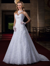 2015 New Charming Princess V-Neck Lace Wedding Dress Bridal Gown Chapel Train Backless Sleeveless Ankle-Length A-Line F074(China (Mainland))