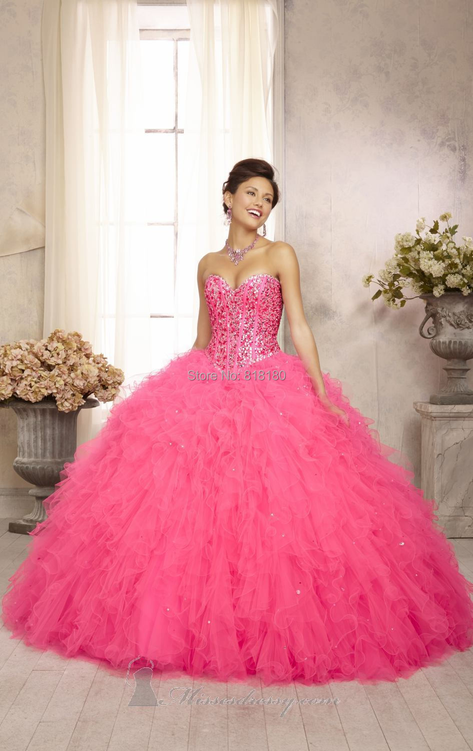 Quinceanera Dresses Pink And White Puffy Pink Puffy Quin...