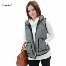 Spring&Autumn Women Vest Big Pocket Design Warm Women Cotton Casual Ladies Winter Sleeveless Jackets Puffer Herringbone Vest(China (Mainland))