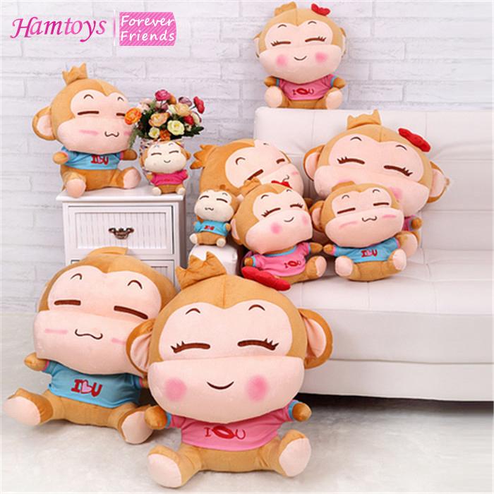Free Shipping 2pcs Plush Monkey 15cm Decoration Put on the Desk Small Soft Simian Toy Valentine's Day Comfort Brinquedos #SA20(China (Mainland))