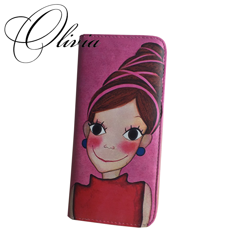 2015 High Quality Brand Designer Korea Fashion Cartoon Print Girl Graffiti Zipper Money Clip Long Slim Wallet For Women(China (Mainland))