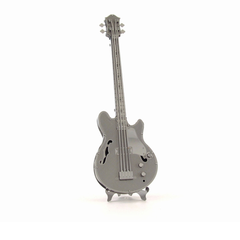 Band Bass Metal 3D Puzzle Musical Instrument Double Bass Piano Drum Kit Guitar Stainless Steel Model Kid DIY Assembly Jigsaw Toy(China (Mainland))