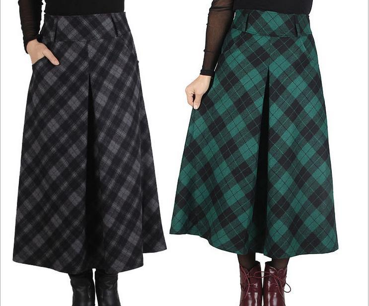 winter fashion s skirts literary grid cloth of the