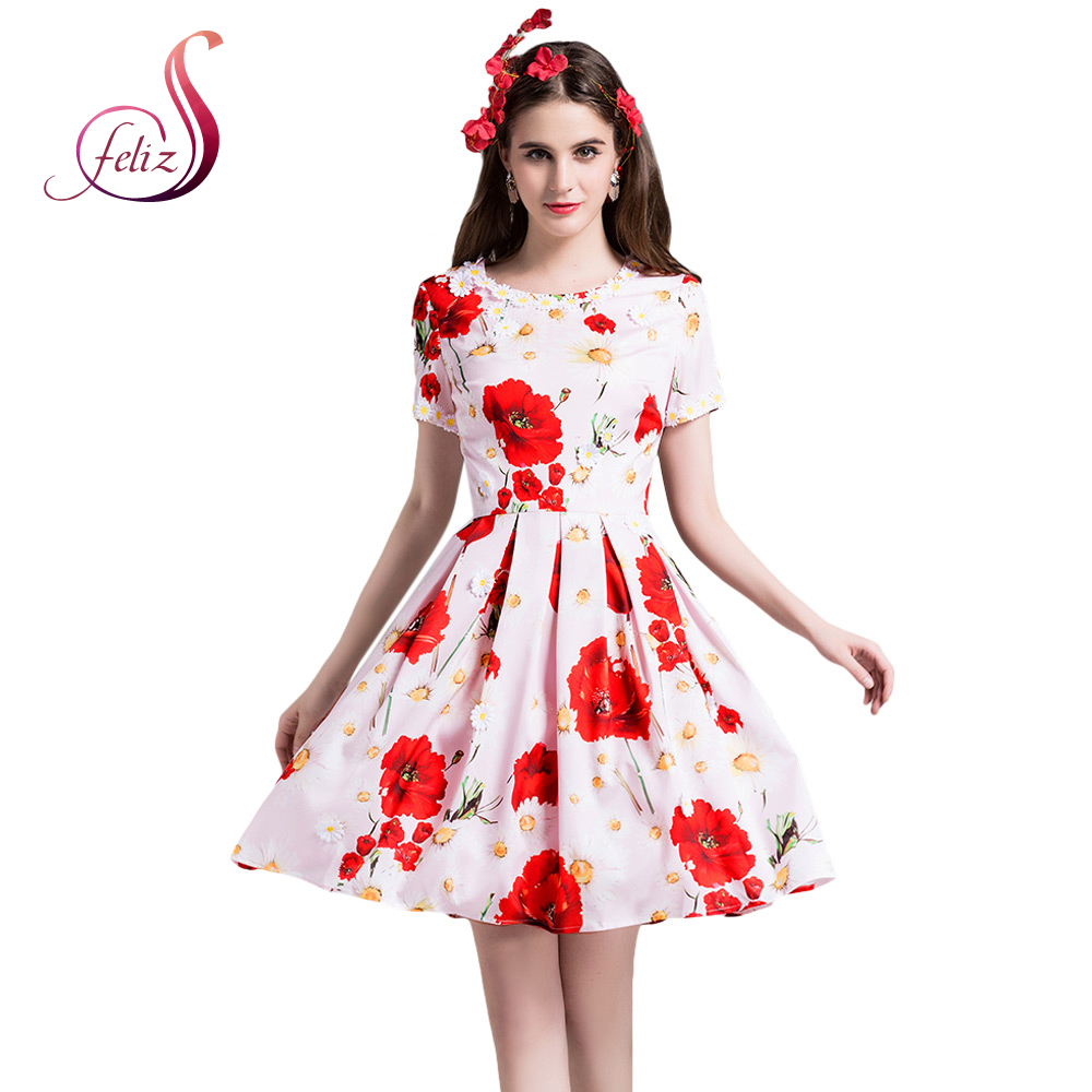 Party Night Elegant Women Summer Cool Cute Dress O-Collar Short Sleeves Floral Print Daisy Applique Polyester Pleated Mini Dress(China (Mainland))