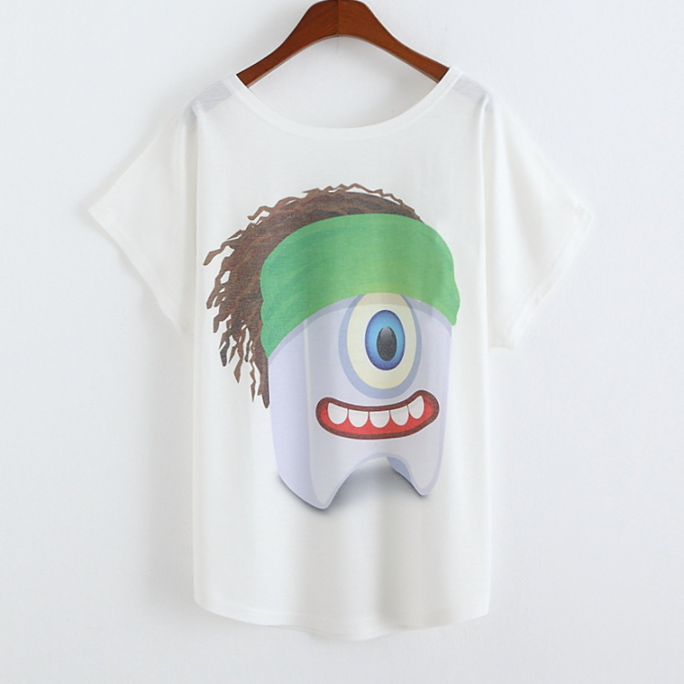 2015 New Brand Women's T-shirt Green headband despicable people Printed Women T-shirts Moleton Feminino(China (Mainland))