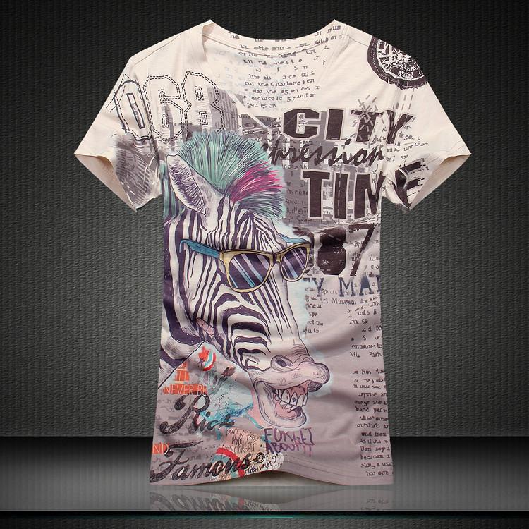 GSYF0007 man summer t shirts new arrival slim fit perfect animal print sleeve t-shirt,Zebra image cloth(China (Mainland))