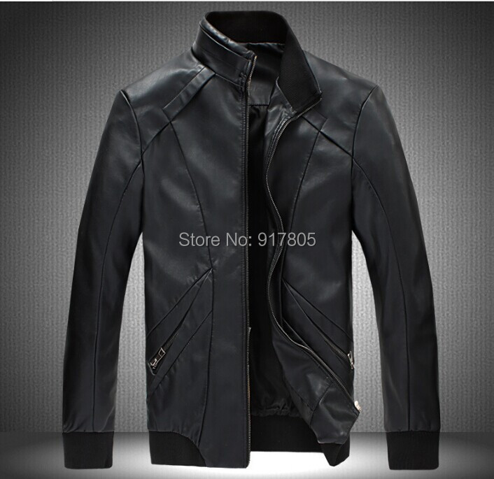 Autumn Winter New 2014 Fashion Plus Size Men PU Leather Jacket Long Sleeve Patchwork Zipper Casual Coat Outwear - Sherry Fu's store