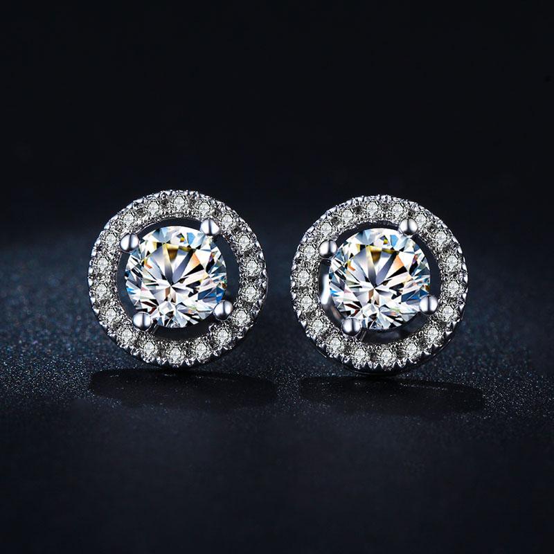 18K White Gold Plated Hearts &amp; Arrows cut 0.75 carat AAA+ CZ Diamond Stud Earring Wedding Earrings for Women E836<br><br>Aliexpress