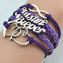 MINI order 5.99 infinity justin bieber double heart  2014 fashion  leather bracelets purple color free shipping(China (Mainland))