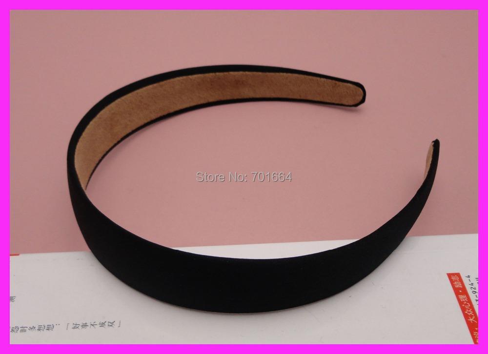 "10PCS 25mm 1.0"" Black Fabric Covered Plain Plastic Hair Headbands with velvet back,women wrapped hairbands BARGAIN for BULK(China (Mainland))"