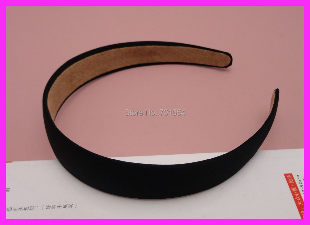 "10PCS 25mm 1.0"" Black Fabric Covered Plain Plastic Hair Headbands with velvet back,women wrapped hairbands BARGAIN for BULK(China (Mainland))"