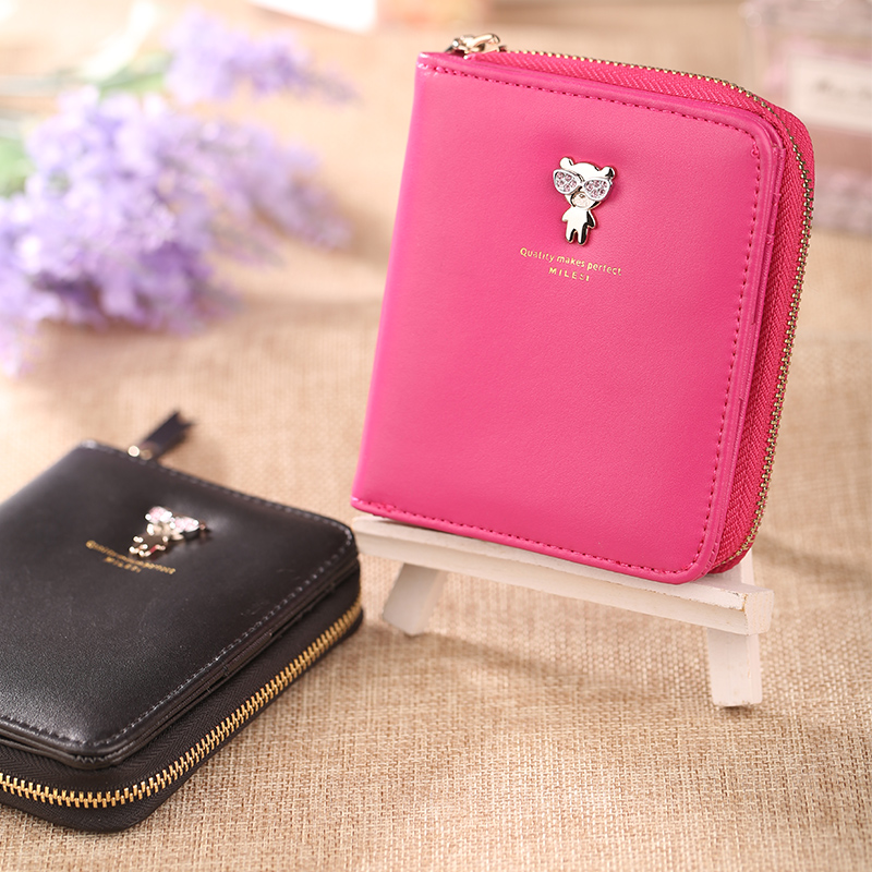 MILESI Fashion Women Wallets Button PU Leather Short Wallet Popular Portable coin Purses Delicate Casual Lady Card Holder MP327<br><br>Aliexpress