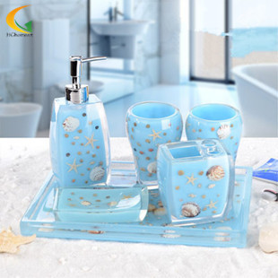 Free shipping HG Homeart New design polyresin bathroom set, chinese bathroom accessories, shell design polyresin bathroom set(China (Mainland))