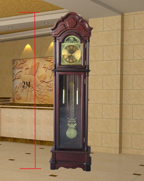 Big size Wooden grandfather clock house hourly music Roman metal dial wooden floor office - UCOOL HOME DECOR CO. LTD store