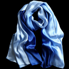 2016 Fashion Silk Shawls and Scarves Gradient Color Design hijab High Quality Women Scarf Luxury Brand 180*90cm Large size(China (Mainland))