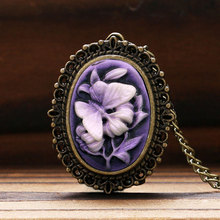 Retro Purple Flower Butterfly Pattern Little Small Pocket Watch Women Lady Girl Necklace Pendant Watches Clock Birthday Gift(China (Mainland))