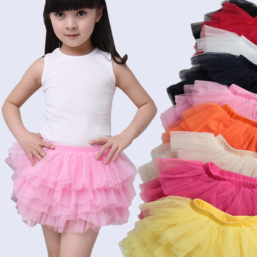 New fashion girls tutu skirts baby ballerina skirt childrens chiffon fluffy pettiskirts kids Hallowmas casual candy color skirt(China (Mainland))