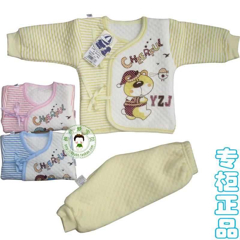 Autumn and winter newborn baby thermal underwear baby underwear set clothes female male 100% cotton sleepwear 3370(China (Mainland))