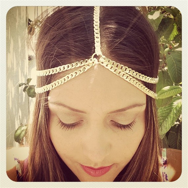 2015 Gold/Silver Tiara Hair Accessories Women Boho Wrap Hair Band Head Chain Ornament Head Hair Jewelry Chain For Valentine Gift(China (Mainland))