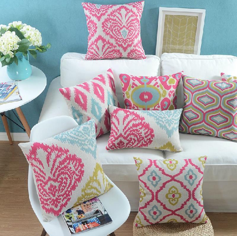 """18 """" quadrado geométrico moderno linho algodão capa de almofada Ikea sofá cadeira carro casa decorativo jogar travesseiro fronha almofadas"""