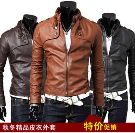 Бесплатная доставка новых людей тонкий воротник кожаная куртка пальто Pu мыжской тепловоз мужской короткий параграф