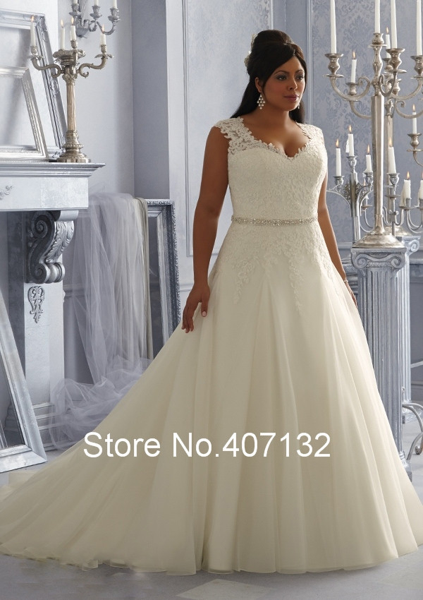 Fancy sexy see through lace beaded gauze white ivory A-line Plus Size Wedding Dresses New Arrivals shoulders oversized zipper(China (Mainland))