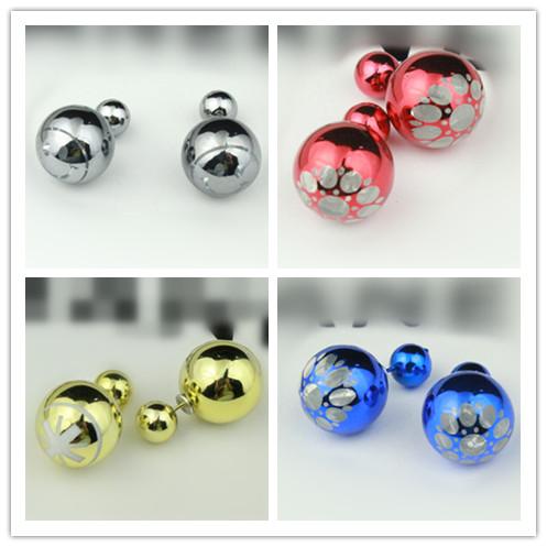 runway piercing Double faced Pearl earrings unisex metal Stud Earring/ punk beads H211 - Lisa Smith Shop (min,order $8 store)