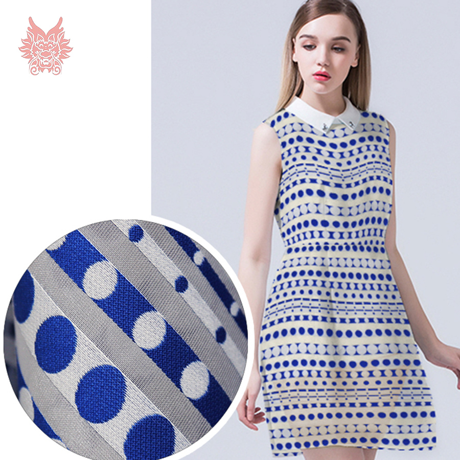 Designer luxury white blue stripe dot jacquard organza fabric for dress poly cotton organza tissue cloth tela free ship SP3490(China (Mainland))