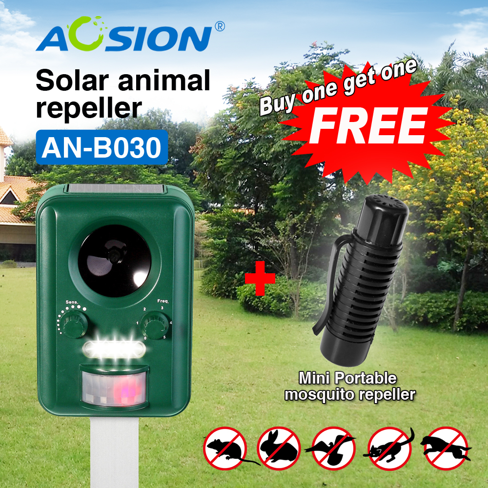 BUY Aosion with rechargeable battery Solar power ultrasonic dog cat animal bird fox repeller chaser( got portable mosquito free)(China (Mainland))